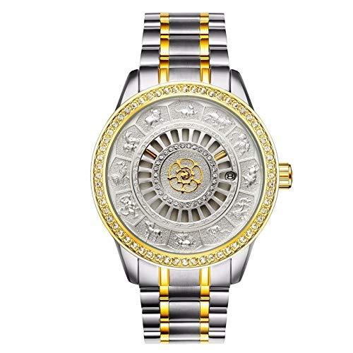 ZBHWYD Relojes mecánicos, Relojes para Hombres, Relojes automáticos para Hombres, Relojes mecánicos de Acero Inoxidable, Relojes automáticos, Bandas de Acero (Hombres y Mujeres),Plata