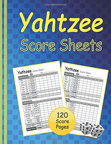 Yathzee Score Sheets: Yathzee game Score Keeping Pads, 120 Scorecards with dice score rules. Triple 'Yatzee' – 8,5x11 Inch Large Size Cards