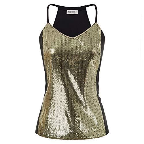 Damen Pailletten Shirt Ärmellos V-Ausschnitt Weste Sparkle Glitzer Sexy Tops XL Gold CLS02347-2