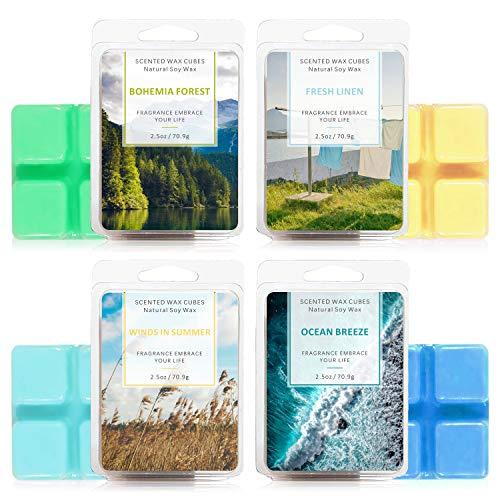 LA BELLEFÉE Scented Wax Cube 4 Packs, Scented Wax Melts, Natural Soy Wax Cube for Warmer(4x2.5oz, OceanBreeze, FreshLinen, BohemiaForest, WindsinSummer