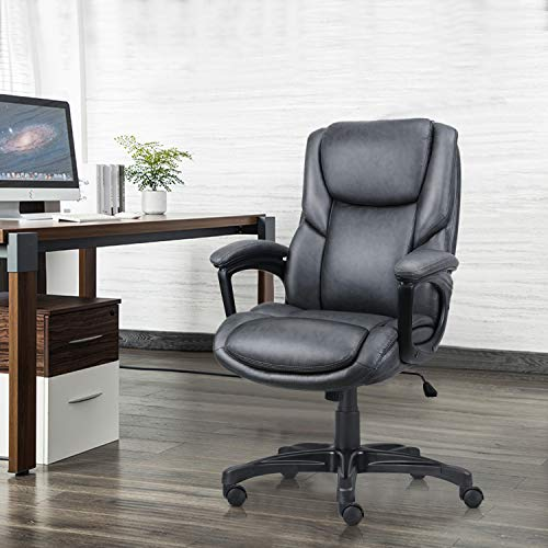 Ergousit Ergonomic Office Desk Chair Large High Back and Adjustable Boss Chair Comfortable Computer Chair PU Leather Executive Chair-Dark Grey