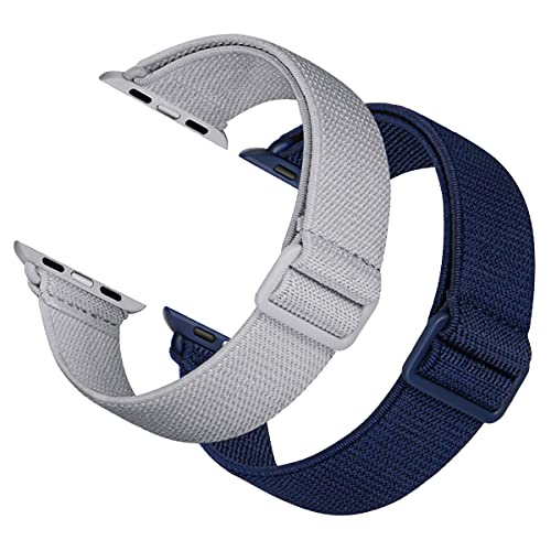 2 Pack Sport Elastic Nylon Compatible with Apple Watch Bands 40mm 38mm, Adjustable Lightweight & Breathable Woven Stretches Strap for iWatch Series 6/5/4/3/2/1/SE Men Women Light Gray/Dark Blue