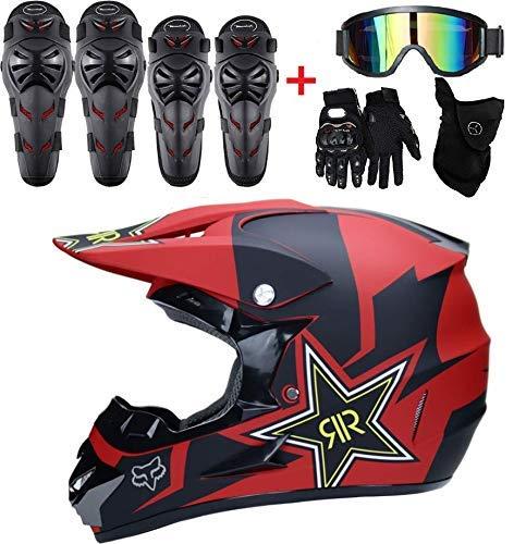 GUOGUO Motocicletas Motocicletas Cascos de Motocicleta-Cruzar y Guantes y Gafas D.O.T Kids...