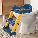 kksmile Toilettensitz Kinder, Kindertoilette mit Verstellbarer Leiter Rutschfeste Treppe PU Gepolstert , wc sitz kinder Töpfchentrainer mit Sicheren Griffen