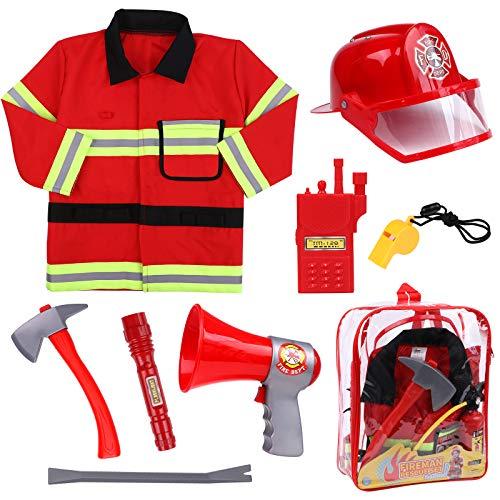 Tacobear Vigile del Fuoco Pompiere Costume per Bambini con Casco Antincendio Pompiere Giocattoli Gioco di Ruolo per Bambini Carnevale Halloween