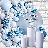Unisun - Kit de guirnalda de globos, 104 piezas, azul blanco, con confeti plateado, globos metálicos, cadena de pegamento, lunares para decoración de cumpleaños, bodas, aniversarios y fiestas