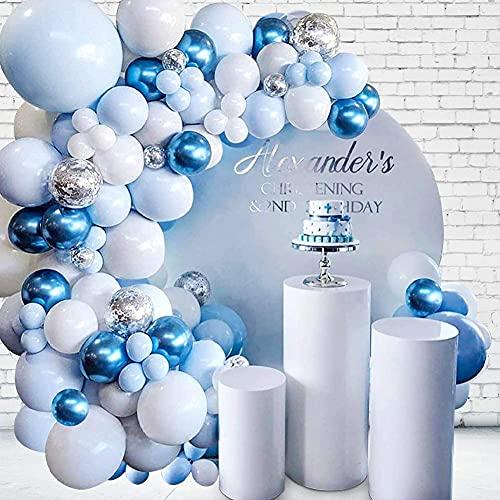 Unisun - Kit de guirnalda de globos, 104 piezas, azul blanco, con...