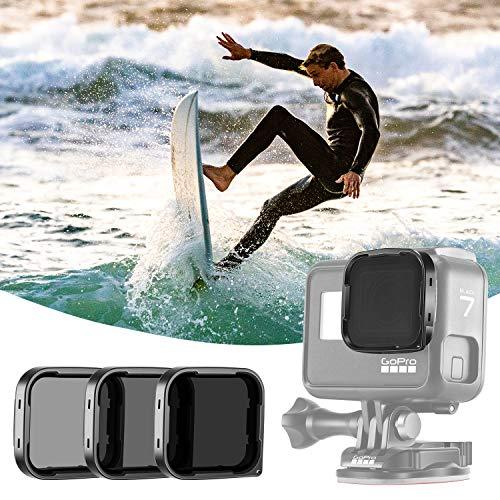 Neewer Kameraobjektivfilter ND-Filter Set Kompatibel mit GoPro Hero 7 Schwarz/Hero 6/Hero 5 Schwarz ND4/ND8/ND16 Objektivfilter mit neutraler Dichte Kamera Objektiv Zubehör