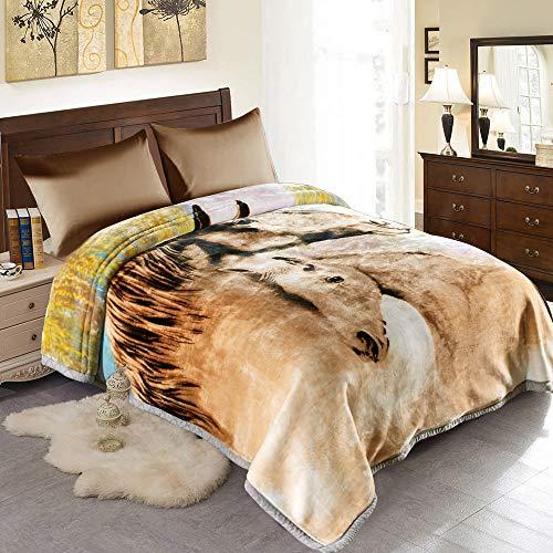 JML 10 Pounds Heavy Plush Soft Blankets for Winter, Korean Style Mink Velvet Fleece Blanket – 2 Ply A&B Printed Raschel Bed Blanket 85' x 93' (Tigers)