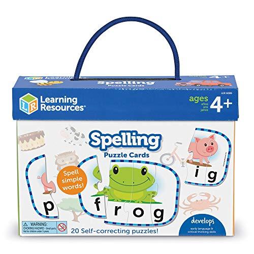 Learning Resources LER6086 Buchstabier-Puzzlekarten, Vorbereitendes Lernen im Vorschulalter, Puzzles zur Eigenüberprüfung, ab 4Jahren