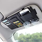 Car Sun Visor Organizer with Multi-Pocket Net Zipper, Universal, Ultra Thin, PU Leather, Auto Interior Accessories Pocket Storage Pouch Holder for Cars Truck SUV, Cards, Pens, Sunglasses, CD Holder