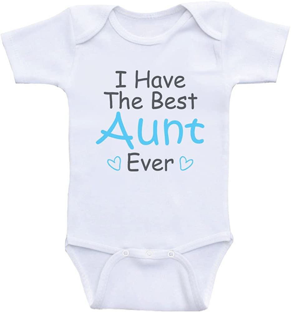 TYLERHUMP Baby Bodysuit Best Aunt Ever Short Sleeves Triangle Romper Bodysuit Outfits Infant Toddler Clothes