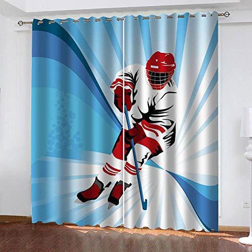 HJKGSX Verdunkelungsvorhänge Blickdichte Vorhänge Gardinen mit Ösen Lichtundurchlässig Verdunklungsgardine für Schlafzimmer Wohnzimmer Hockey Spieler 110 x 215 cm x 2