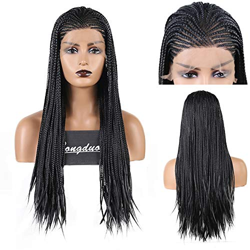 RDY Long Black Braiding Hair Synthetic Lace Front Wigs for Women Micro Braided Box Braids Wig with Side Part Natural Looking Replacement Wig(24Inches,180% Density,#1B)