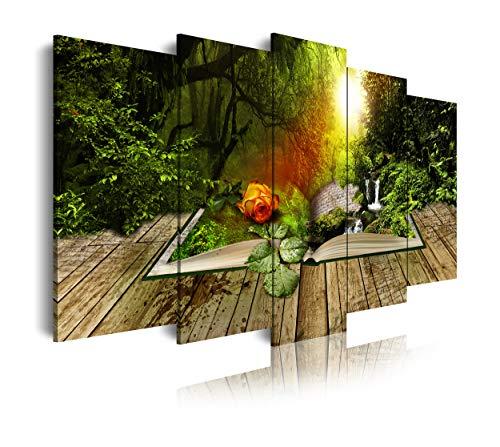 DekoArte 494 - Cuadros Modernos Impresión de Imagen Artística Digitalizada   Lienzo Decorativo Para Tu Salón o Dormitorio   Estilo Naturaleza Paisajes Bosque Árboles Verdes   5 Piezas 150 x 80 cm