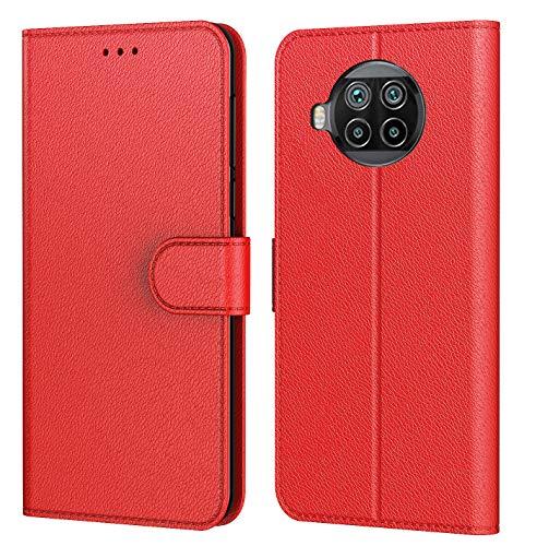 AURSTORE Hülle Mi 10T Lite 5G Handyhülle, Premium PU Leder Schutzhülle Abdeckung, mehrere Farben, Tasche Leder Flip Hülle Brieftasche Etui für (Xiaomi Mi 10T Lite 5G, Rot)