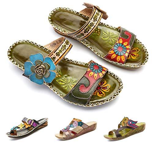 Camfosy Damen Leder Slippers,Frauen Elegant Wedges Sandalen Bequme Handgefertigt Vintage Sommerschuhe Gemütliche rutschfest Keilschuhe Dunkelgrün 37 EU