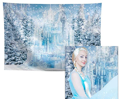 Allenjoy 7x5ft Winter Ice Castle Photography Backdrop for Pictures Holiday Photo Newborn Princess 1st Birthday Party Supplies Decors Snowy Forest Wonderland Children Portrait Photoshoot Props Studio