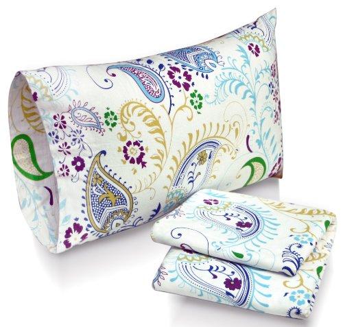 Tribeca Living Paisley Garden Printed Deep Pocket Flannel Sheet Set with Pillowcase, King