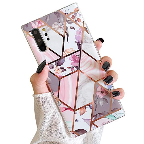 Hapitek for Samsung Galaxy Note 10 Plus Case Flexible Soft Slim Fit Protective Cute Marble Phone Case Cover with Pink Floral for Galaxy Note 10 Plus Rose Gold
