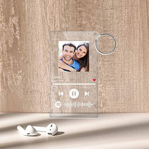 Personalisiert Schlüsselanhänger mit Foto & Musik Bedrucken mit Musikkarte Spotify Code Acryl Schlüsselbund Auto Bild Selbst Gestalten Geschenk für Liebe Dame Mann Vater Weihnachten Geburtstag