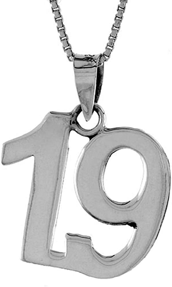 Sterling Silver Number 19 Necklace Numbers for Jersey 直営ストア 正規激安 Recovery
