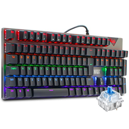 Teclado Gamer Mecânico Rgb Led Abnt2 Switch Blue Antighosting Usb 24 Efeitos Teclas Removíveis Para Pc Ps4 Ps5 Xbox One Series X e S