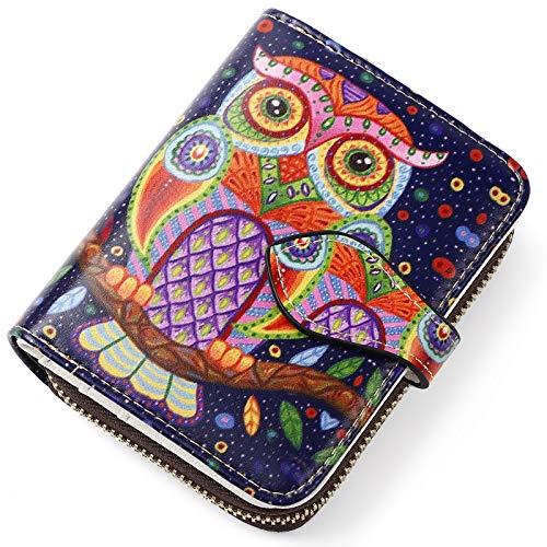 APHISON レディース カードケース じゃばら 財布 スキミング防止 クレジットカードケース 磁気防止 花柄 可愛い ギフト 589-1 紫のフクロウ006
