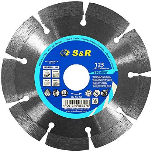 S&R PREMIUM Diamanttrennscheibe, Trennscheibe 125 x 22,23 x 10 x 2,2 mm, zum Schneiden von Beton, armierter Beton, Granit, Naturstein, Ziegel, für Flex