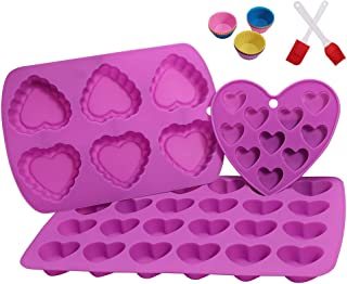 Xeecnn,Muffin Tin,Heart-Shaped Silicone Muffin Pan,Great for making cakes,muffin,chocolates and jellies, Non-stick,BPA Free Silicone Mold.3 Pack-Purple