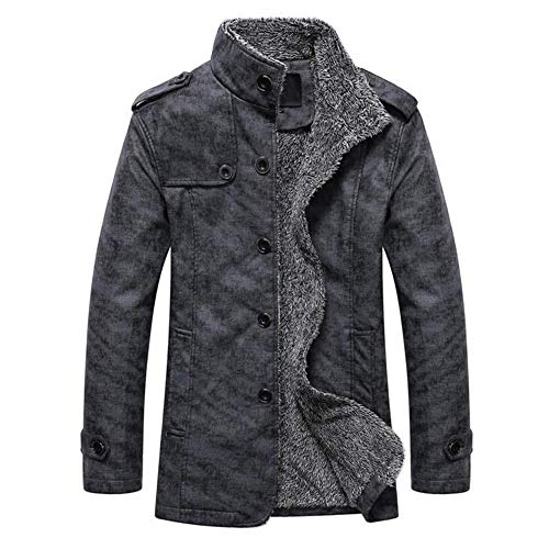 GoodLock Men's Fashion Leather Button Coats Casual Autumn Winter Thermal Warm Jackets Coats Top (Dark Gray, Large)