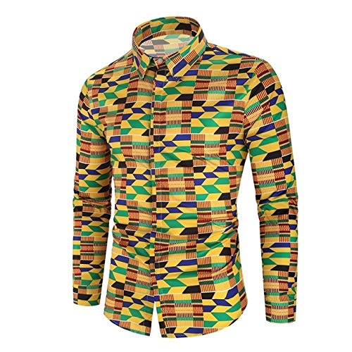 Loeay Männer Langarm Freizeithemd Mode Blume 3D Gedruckt Blumenhemd Umlegekragen Slim Fit Hemd Für Herrenbekleidung Multi L