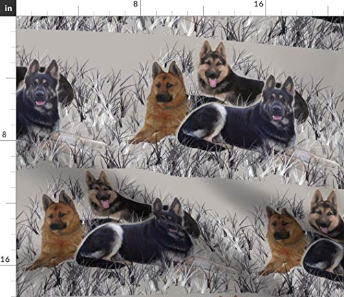 Spoonflower Fabric - German Shepherds Grass Shepherd Dogs Earth Tones Printed on Organic Cotton Knit Fabric by The Yard - Baby Blankets Clothing Apparel T-Shirts