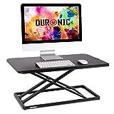 Duronic DM05D20 BK Postazione da Lavoro per Computer con Ampia Piattaforma 75 cm scrivania Ufficio per pc Monitor Tastiera – Altezza Regolabile da 5 a 41 cm - tavolino da Lavoro