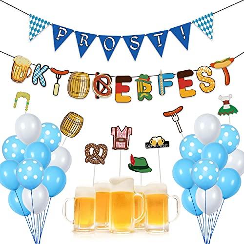 MIKOO Oktoberfest, 27 Decorazioni Oktoberfest, Accessori Oktoberfest, Festoni Oktoberfest, Blu e Bianchi Palloncini Birra, 18 * Palloncini, 1 * Bandiera da Tirare, 8 * Inserto per Torta