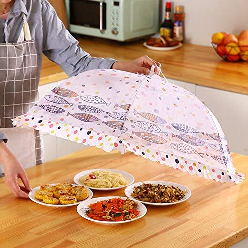 KANGXZ 1 Tapa de Comida, Anti-Moscas, Tapa de Comida-Pez pequeño Redondo Blanco 80 * 30cm