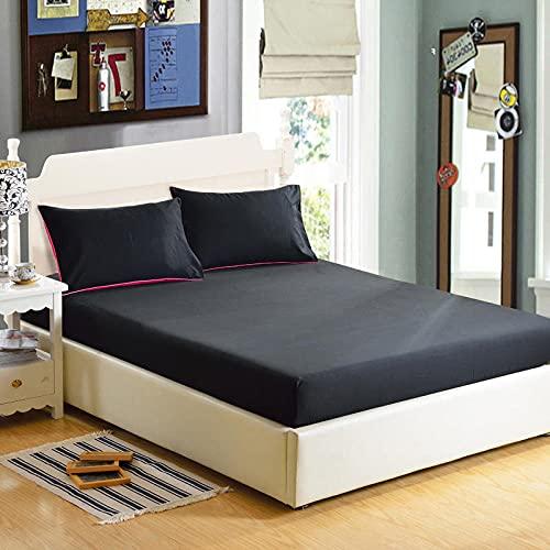 CYYyang Protector de colchón de bambú Funda de colchón y Ajustable Sábana de Cama de Color Puro de una Sola Pieza a Prueba de Polvo-Negro x_180x200x25cm