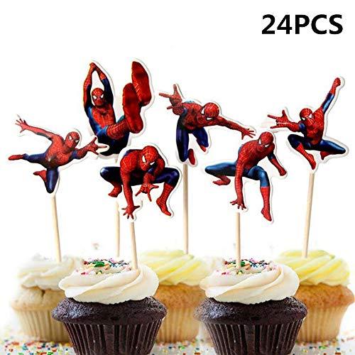 Longsing Zahnstocher Flaggen 24 Stück Cupcake Toppers Cupcake-Dekoration Kinder Geburtstag Hochzeiten Baby Duschen Hochzeit Party Supplies Dekor Gefälligkeiten