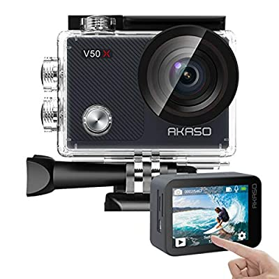 AKASO V50X Native 4K30fps WiFi Action Camera with EIS Touch Screen 4X Zoom Web Camera 131 feet Waterproof Camera Support External Mic Remote Control Sports Camera with Helmet Accessories Kit from AKASO