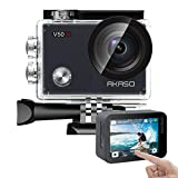 AKASO V50X Native 4K30fps WiFi Action Camera with EIS Touch Screen 4X Zoom Web Camera 131 feet Waterproof Camera Support External Mic Remote Control Sports Camera with Helmet Accessories Kit