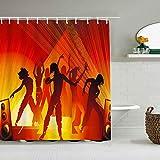 SSZO Cortina de Ducha Impermeable,Bailar Hiphop Mujer Gente Elegante Plantilla Impresión Detallada Grupo Belleza Expresión Fiesta Moda,Cortinas de baño con 12 Ganchos,tamaño 180 x 180cm