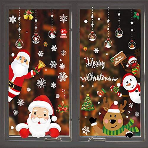 Noël Stickers Noël Autocollants Stickers Fenetre DIY Mignonne Renne Père Noël Réutilisable Autocollant Noël Verre Amovible Muraux Porte Décoré Noël Maison Murales (B)