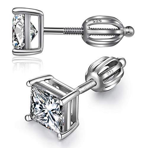 Pendientes cuadrados Pendientes hombres plata Aretes de plata para hombres mujeres Pendient de tornillo hombres plata, Pendiente Plata de Ley 925 para hombres Pendientes hombre diamante cuadrado 5mm