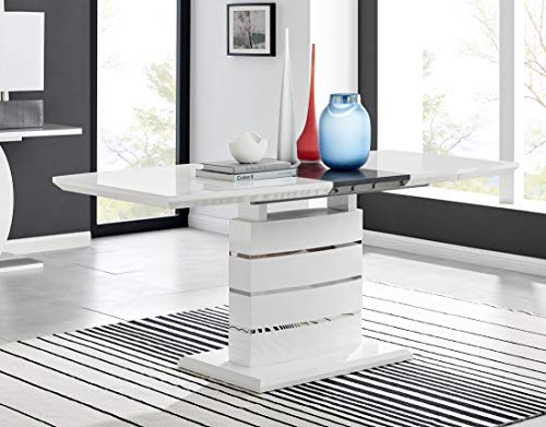 Furniturebox UK Renato Modern White Grey High Gloss Chrome Large Extending Dining Table And 6 8 Stylish Contemporary Milan Dining Kitchen Chairs Set (Dining Table Only, No Chairs)