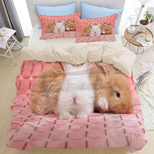 Juego de ropa de cama de 3 piezas, conejo bebé recién nacido de color marrón en conejito gris de las semanas de liebre rosa, juego de funda nórdica con cremallera de lujo moderno, la última funda de e