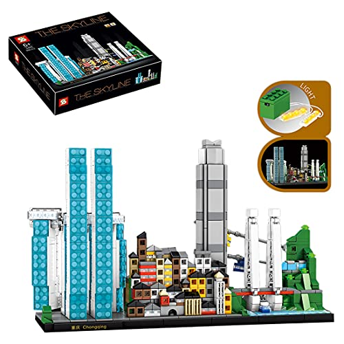 Elroy369Lion Chongqing Skyline City Street View - Juego de construcción con luces compatibles con Lego Creator, DIY MOC, juguetes educativos (908 piezas)