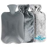 Bolsa De Agua Caliente, Tencoz Bolsa De Calor Botella De Agua De Gran Capacidad 2L bolsa de agua caliente para Abdomen y Atrás