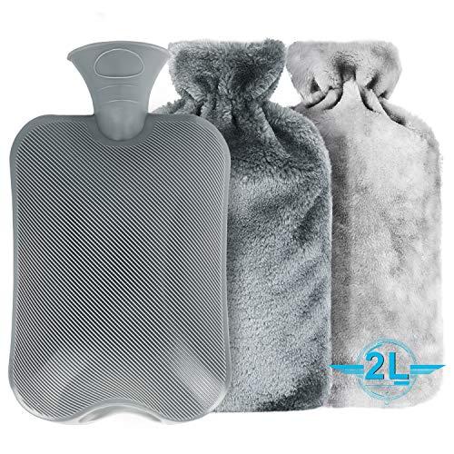 Wärmflasche, Tencoz 2L Wärmflaschen mit 2 Pack Super Weichem Plüsch-Bezug Waschbare Wärmekissen undund Frei Von Schadstoffen Sicher für Bauch Rücken und Nacken
