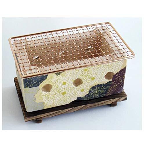 Japanischer Yakiniku Yakitori Holzkohlegrill, traditioneller Steingut, Hida-Grill, Herd, 28 × 15 cm, Größe L, Kamo-Muster, hergestellt in Japan 21314-21315-21316