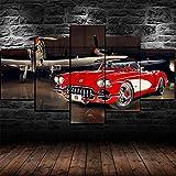 Yuanjun Pegatinas De Pared Nuevo 5 Piezas/Sets Lienzo Pinturas Sobre Lienzo Hd Tela Cartel150X80Cm Xxl Chevrolet Red Corvette C1 Coche Clásico